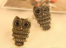 wholesale Vintage Retro Bronze Owl Bird Finger Ring Adjustable Stretch Ring