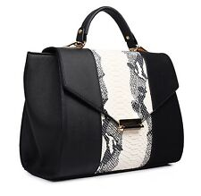 *NEW Celebrity Inspired Faux Leather Snake Skin Tote Bag Handbag Black & Beige