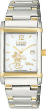 NEW Disney Mickey Mouse Citizen Men Watch Eco-Drive WR Date BW0074-52C 2TONE Wty