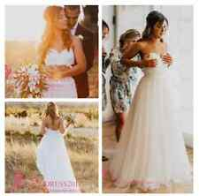 Simple Strapless Tulle Bridal Gown Lace Beach Wedding Dress Size 4 6 8 10 12 14+