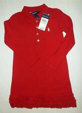 New Polo Ralph Lauren Dress Ruffled Hem Long Sleeves Red Mesh 16 XL Girls