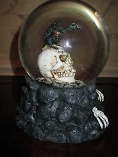 "NWT ""Lighted"" Skull, Skeleton Hands & Vulture Snow/Water Globe, Halloween-Cool!"