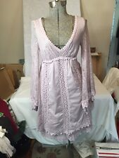 Amazing Free People Hippie Boho Lace And Cotton Dress Purple Lavender XS Tiered