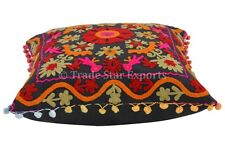 "16"" Vintage Pillow Covers Suzani Embroidered Cushions Cotton Pillowcases Floral"