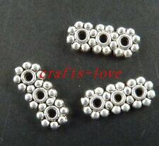 500pcs Tibet Silver Daisy 3Holes Bar Spacers 13x5.5x2mm 72-1