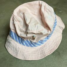 NWT 90s VTG POLO RALPH LAUREN BUCKET Hat PINK Blue Striped HIP HOP Sailing Beach