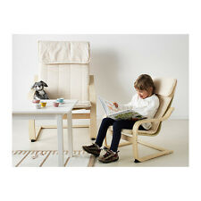 Ikea Children's Poang, Kid's armchair, birch veneer, Almas natural cushion, new