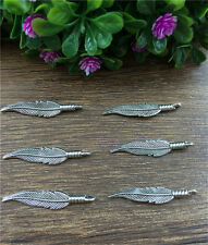 Wholesale 10pcs Tibet silver Feathers Charm Pendant beaded Jewelry Findings