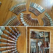 1 5-pc setting WILLIAM SONOMA CAFE BOIS wood HANDLE rivets mid-cent. spoon fork+