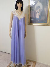 CLAIRE SANDRA LUCIE ANN BEVERLY HILLS vintage nightgown PERIWINKLE size L large