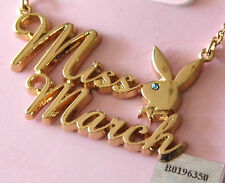 "Playboy Necklace ""Miss March"" Gold set with Gem Stone"