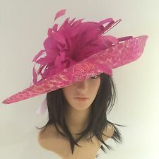 PETER BETTLEY FUCHSIA GOLD WEDDING HAT FORMAL Occasion MOTHER OF THE BRIDE