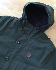 FRED PERRY GREEN FLEECE LINED HOODED OFFSHORE PARKA JACKET M shower proof casual
