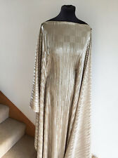 Liquid Molten Silver Gold  Metallic Pleat  Stretch Jersey Dressmaking Fabric