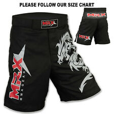 MMA Grappling Shorts Kick Boxing Cage Fight Muay Thai Dragon MRX Black, Large