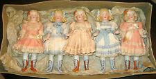 lot of 5 antique dolls - Heubach  in sample box - Germany