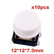 10pcs B3F Key Tactile Switch Tact Push Button with Round Cap White 12 x12 x7.3mm