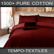 New Arri KB 1500TC Pure Egyptian Cotton Fitted Flat Pillowcases Sheet Set Red