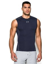 Under Armour 1257469 Men's Navy UA HeatGear Sleeveless Compression Shirt Large