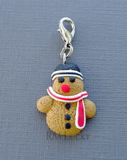 Christmas Snowman Cookie Clip On Charm Dangle Fits floating locket S29