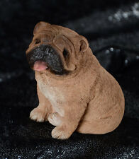 "New WOB SANDICAST OLD ENGLISH BULLDOG Dog Figurine Sitting 3.5"" Tall M175 BROWN"