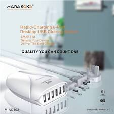 SMART High Speed 6 Port USB HUB Station 36W&7.2A Desktop Multi Charger in White
