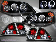 01 02 03 Honda Civic 4 Door Projector Headlights Blk 2Halo + JDM Blk Tail Lights