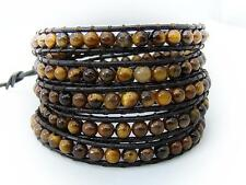 MENS WOMENS TIGER EYE Wrap Bracelet all 4mm beads Brown leather fashion bracelet