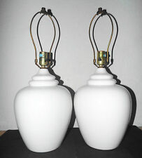 "LAMPS A PAIR OF VINTAGE 3-WAY 21""H WHITE CERAMIC ASIAN THEMED GINGER JAR LAMPS"