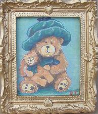 1:12 Framed Picture (Print) Of Doreen The Teddy Bear Dolls House Miniature Art