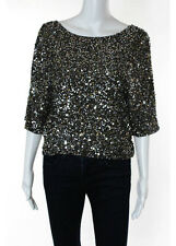 VINCE. Multi-Colored Embellished Sequined Print Long Sleeve Blouse Sz S