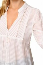 $178 JUICY COUTURE Women's IVORY White Stripe Lace Button Down Shirt Blouse 8 M