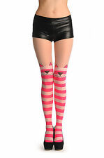Pink and White Stripes With Over The Knee Cute Cat (T001341)