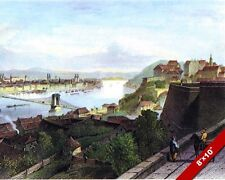 VIEW OF BUDAPEST BRIDGE HUNGARY LANDSCAPE PAINTING ART REAL CANVAS PRINT