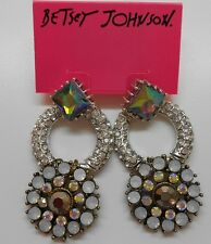 Betsey Johnson Whiteout Round Drop Post Earrings MSRP $45