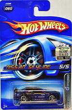 HOT WHEELS 2006 DROPSTARS NISSAN SKYLINE #060 BLUE FACTORY SEALED