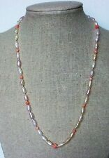 "17"" Fresh-water Pearl-Pink Coral Necklace, Genuine Coral & FWP, #FWP-CO-N5"