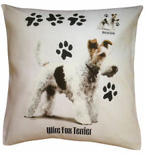 Wirefox Wire Fox Terrier Paws Breed of Dog Cotton Cushion Cover - Perfect Gift