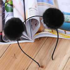POP Sweet Warm Pom Fur Ball Furry Ears Womens Headband Hair band Head Accessory