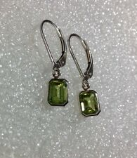 925 Sterling Silver Emerald Cut Natural Peridot Lever Back Earrings 2.10CTW