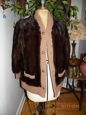 vintage brown striped mink fur female pelt sweater jacket coat