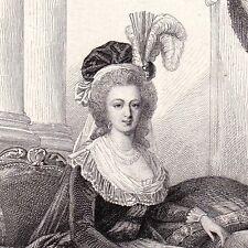 Portrait Marie-Antoinette d'Autriche Révolution Française Reine de France 1858