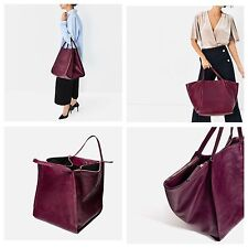 ZARA CRACKED LEATHER BUCKET TOTE SHOPPER BAG OVERSIZED LARGE BURGUNDY