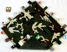 Double Minky! Camo Army Camouflage Green Minky Tag Taggie Security Blanket Baby
