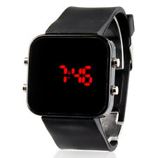 Digital Square Mirror Dial Silicone Band Wrist Watch Calendar Red LED Display US