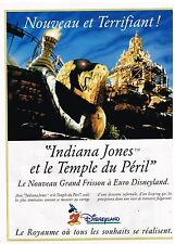 "Publicité Advertising 1994 Euro Disneyland ""Indiana Jones"""