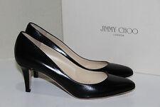 New sz 8.5 US / 38.5 Jimmy Choo Vega Black Leather Classic Pump Heel Shoes