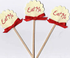 """Alice in Wonderland party favor 10 cupcake food topper red eat me glossy 2"""""""