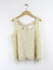 Frock And Frill Womens Cream Beaded Tie Back Top Size 14