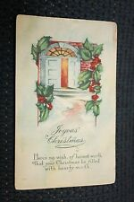 Vintage Postcard Joyous Christmas Poem Front Door House Scene With Holly